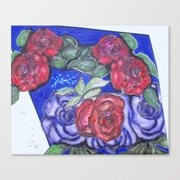 Roses And Blue Canvas Print