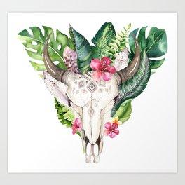 Tropical Skull Bouquet. Art Print