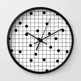 Dot Grid map art print black and white minimal modern pop trendy urban brooklyn design streets new y Wall Clock