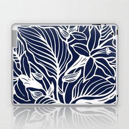 Navy Blue Floral Minimal Laptop & iPad Skin