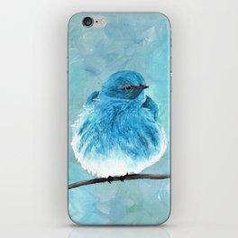 Mountain Bluebird Acrylic Art, Blue Bird Painting, Bird on a Branch, Wall Art, Fluffy Bird iPhone Skin
