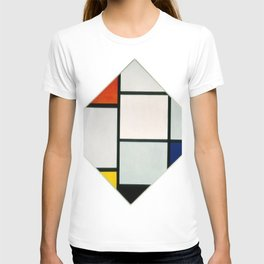 Piet Mondrian - Tableau No IV; Lozenge Composition with Red, Gray, Blue, Yellow, and Black T-shirt