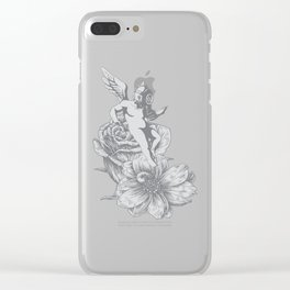 Dark Seraphim Gas Mask and Flowers Clear iPhone Case