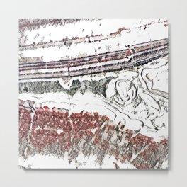 Marble Floor Pencil Color Sketch Metal Print