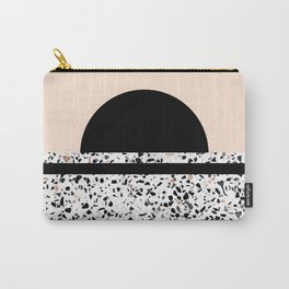 Terrazzo Stone Pattern Black and Orange Peach Carry-All Pouch