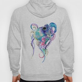 Tuquoise BLue Pink Purple Octopus Hoody