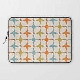 Mid Century Modern Star Pattern 817 Orange Brown Blue and Olive Green Laptop Sleeve