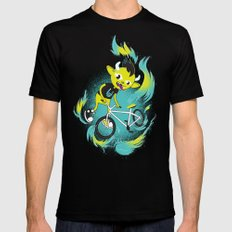 Monster Pixie Riding a Fixie Black Mens Fitted Tee MEDIUM