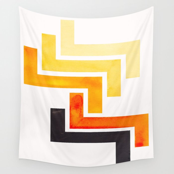 Orange Ancient Aztec Pattern Mid-century Modern Simple Geometric ...