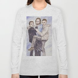 Team Free Will: Misha Collins; Jared Padalecki and Jensen Ackles, watercolor painting Long Sleeve T-shirt