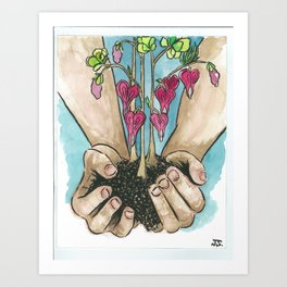 Hold Your Hearts Art Print
