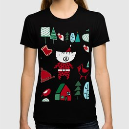Cute Christmas cat blue T-shirt