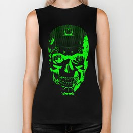 Gamer Skull CARTOON GREEN / 3D render of cyborg head Biker Tank
