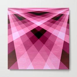 Magenta Burgundy Groovy Checkerboard Plaid Metal Print