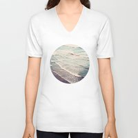 waves V-neck T-shirts featuring Ocean Waves Retro by Kurt Rahn