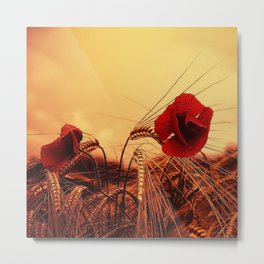 Autumn Red Poppies Metal Print