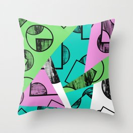 Broken Pieces - Pastel coloured, geometric, textured abstract Throw Pillow