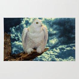 Snowy Owl against Aqua Sky Country Decor A147 Rug