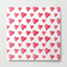 Romantic Red Hearts Metal Print