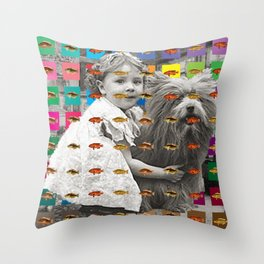 HIDING BEHIND THE FISH II - WITH COLORFUL SQAURES Throw Pillow