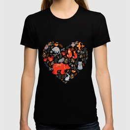 Fairy-tale forest. Fox, bear, raccoon, owls, rabbits, flowers and herbs on a blue background. Seamle T-shirt