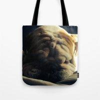 hercules Tote Bags featuring Sleeping Hercules by Jordan Zuelsdorf