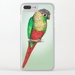 Conure with a heart on its belly Clear iPhone Case