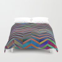 holographic Duvet Covers featuring Color Transition Chevron by Klara Acel