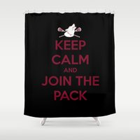 "teen wolf Shower Curtains featuring Teen Wolf-""Join the Pack"" by radruby"