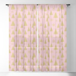 Pink and Gold Christmas Tree Pattern Sheer Curtain
