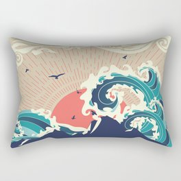 Stylized big waves of ocean and island at sunset landscape Rectangular Pillow