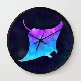 MANTA RAY IN SPACE // Animal Graphic Art // Watercolor Canvas Painting // Modern Minimal Cute Wall Clock