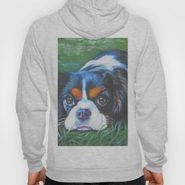 Beautiful Tricolour Cavalier King Charles Spaniel Dog Painting by L.A.Shepard Hoody
