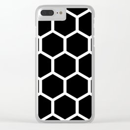 Black Honeycomb pattern Clear iPhone Case