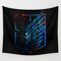 shingeki no kyojin Wall Tapestries featuring Wings Of Justice: Galaxy by Rebekhaart