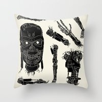 terminator Throw Pillows featuring Decommissioned: Terminator  by Josh Ln