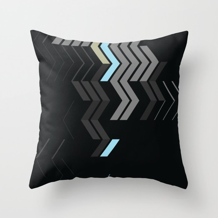 Deconstructed Chevron C Gray Gold Blue Abstract Pattern Throw Pillow
