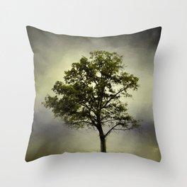 Pine Glade Cotton Field Tree - Landscape Throw Pillow