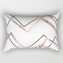 Rose Gold White Linear Triangle Abstract Pattern Rectangular Pillow