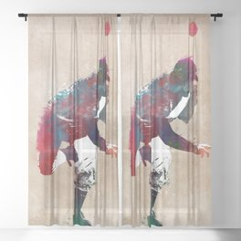 Baseball player 9 #baseball #sport Sheer Curtain