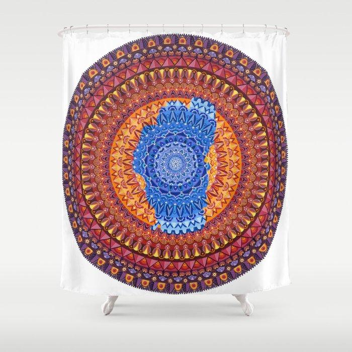 Lake Tahoe Mandala - OG Colors Shower Curtain
