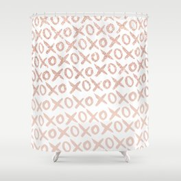 Elegant faux rose gold blush pink love xoxo typography pattern Shower Curtain
