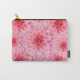 PINK DAHLIA FLOWERS IN RED COLOR ART Carry-All Pouch
