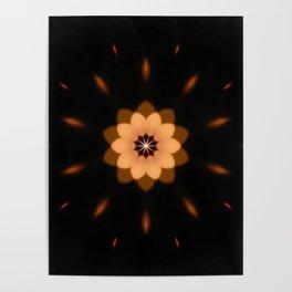 Fall Bronze Flower Mandala Design Poster