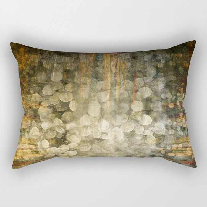"""Abstract golden river pebbles"" Rectangular Pillow"