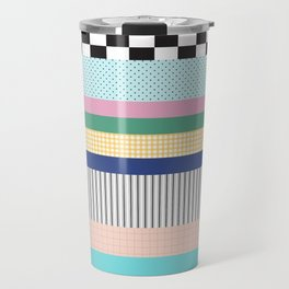 Stripes Mixed Print and Pattern with Color blocking Travel Mug