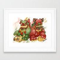 foo fighters Framed Art Prints featuring Happy Happy Foo Foo by JoJo Seames
