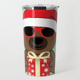 Cool Santa Bear with sunglasses and gift Travel Mug