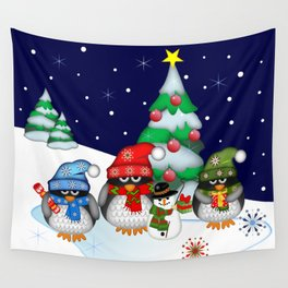 Three little penguins having a Christmas party Wall Tapestry