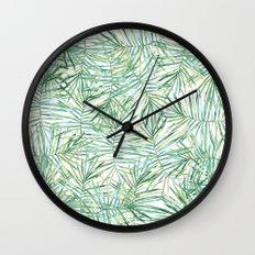 Tropical Leaves Watercolor Wall Clock